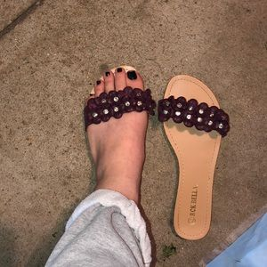 Purple Flower studded flat sandals
